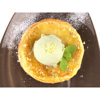 Pineapple tarte tatin with vanilla or green tea ice cream