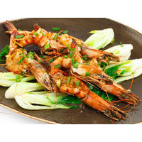 Tiger prawns with Pak Choi cabbage in sweet garlic sauce