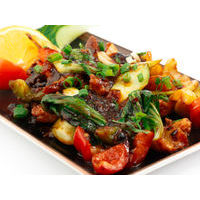 Sea perch with Pak Choi cabbage in black bean sauce with chili