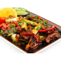 Beef fillet with vegetables black bean sauce with chili