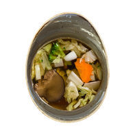 Clear vegetable soup with Shiitake mushrooms