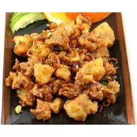 Crispy deep fried baby calamari with onion and garlic