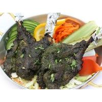 Tandoor cooked lamb chop with basil and vegetables