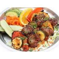 Tandoor cooked lamb shashlik with vegetables